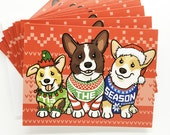 Set of 10 Tis The Season Ugly Christmas Sweater Corgi Holiday Greeting Card