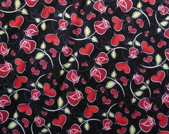 Red Roses and Hearts on black - Fat Quarter or Half Yard sizes