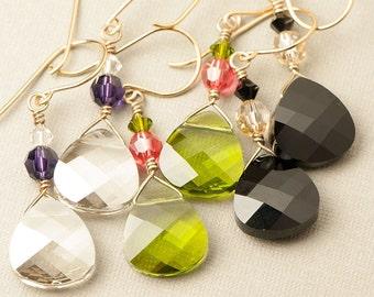 Bridesmaid Teardrop Earrings | Choose Your Color | Gold Dangle Earrings | Swarovski Elements | 1-pair EG89
