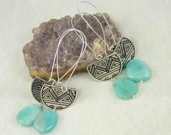 Long Amazonite Earrings, Amazonite Silver Earrings, Aqua Tribal Earrings, Tribal Pattern Earrings, Half Circle Earrings |EC1-32