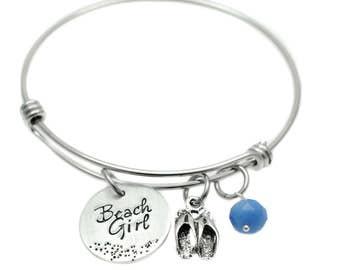 SALE - Beach Girl Bracelet  - Hand Stamped Jewelry - Flip Flop Girl - Adjustable Bangle - Beach Jewelry - Charm Bracelet - Summer Jewelry