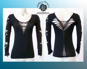 SEXY DIVA - Junior / Womens Shredded Top,  Long Sleeve Cut Up Black Top, Club Wear, Yoga Wear