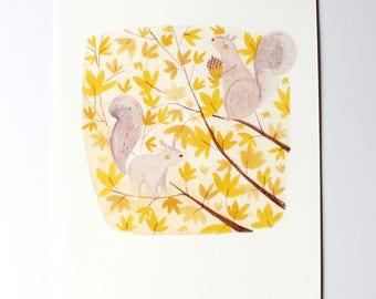 SALE Autumn Squirrels A4 Art Print