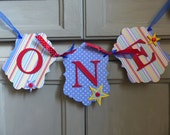 Boys First Birthday Banner - Carnival, Circus Party - ONE High Chair Sign, Photo Prop - Red, Blue, Yellow