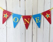First Birthday Banner - Red, Yellow, Blue - Carnival, Circus Party - Photo Prop, High Chair Sign