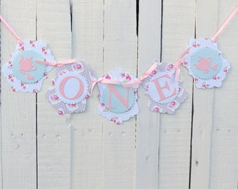 Pastel Tea Party 1st Birthday Banner - Girls ONE Banner - Tea Pots, Roses, Polka Dots - Pink, Mint, Grey