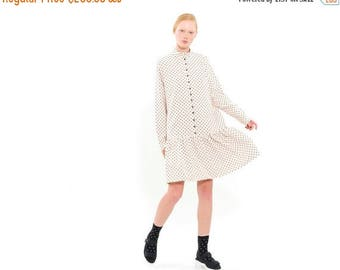 Polka Dots Peplum Hem Dress, Romantic dress, Loose Fitting winter Dress, button down long sleeves dress with Pockets