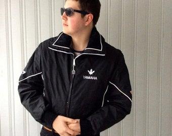 ON SALE 20% off Vintage Yamaha Snowmobile Ski Jacket Black Nylon Insulated Winter jacket white piping Large or XL