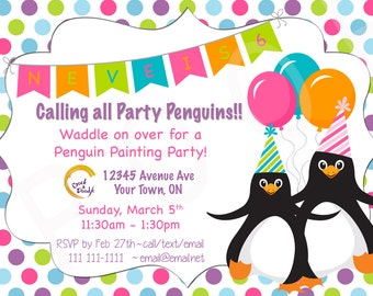 You Print Penguin Birthday Party Invite Penguin Party Penguin Invitation Party Penguins Birthday Party Invite Custom Birthday Invitation 5x7