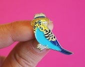 Budgie Enamel Pin Badge - Birds in Hats Budgerigar in a Trilby Pin Badge, Lapel Badge, Hat Pin, Budgie pin, Bird pin, Blue Budgie