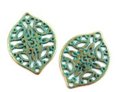 2pc Brass Filigree Boho charms, Green Patina, Large Oval metal pendant Drop beads, Openwork connector, Greek metal casting - F531