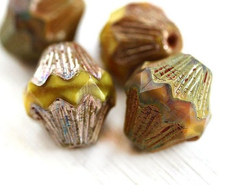 Large bicone beads, Butterscotch Yellow picasso czech glass beads, large baroque bicones, chunky, table cut, 13mm - 4Pc - 1760