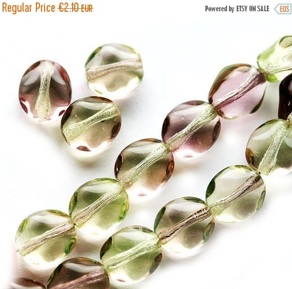 30%OFF SALE Wavy Oval beads, Czech glass yellow green and pink pressed beads, mixed color, 9x8mm - 20Pc - 1478