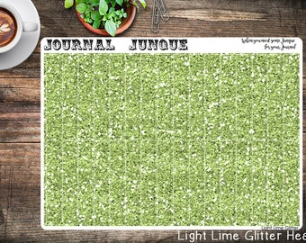 Light Lime Glitter Header Planner Stickers