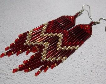 long, red, seed bead earrings, colorful earrings, dramatic, fringe earrings, boho earrings, bohemian jewelry, bold earrings, statement