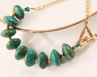 Turquoise and Brown Marbelized Stone Bead Toggle Clasp Necklace - Triangle - Gold Chain - Statement Necklace - Gifts Under 30