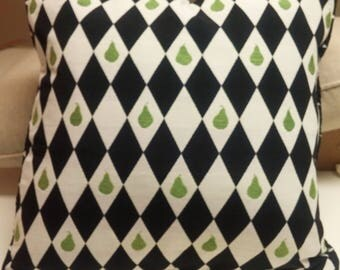 Reversible Black and White Harlequin with Lime Green Pears Pillow Cover- 20 x 20 - Self Corded with Zipper