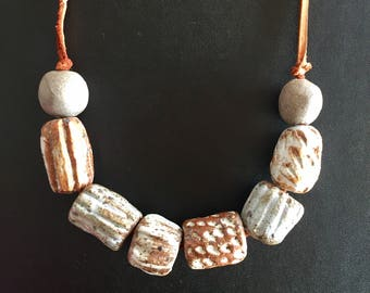 Stoneware glazed ceramic bead necklace