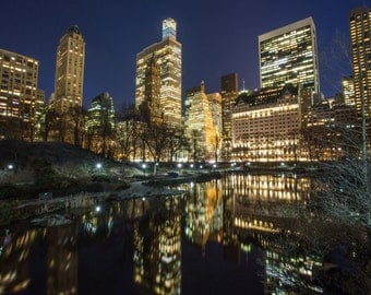 Central Park Reflection - New York Skyline at Night - New York City Photography