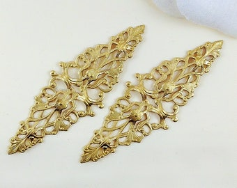 4 pcs. - Raw Brass Filigree, Diamond Filigree, Cabochon Wrap, Brass Connector, Brass Finding, 64mm x 21mm - (r156)
