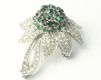 Austria Navette Teardrop Emerald Green Rhinestone Dome Flower 1950's Vintage Old Hollywood Glamour Costume Jewelry Statement BROOCH Gift Her