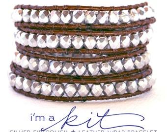 wrap bracelet, leather wrap bracelet kit, DIY kit, silver beaded bracelet, make a bracelet kit, leather wrap bracelet tutorial and supplies