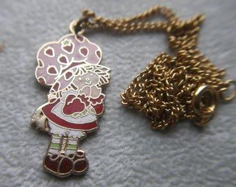 Vintage Original Strawberry Shortcake Pendant, Jewelry, 1980, Pendant, Keepsake