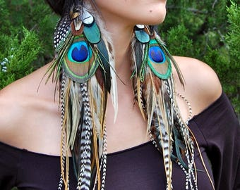 ELVEN QUEEN Long Feather Earrings