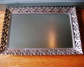 Square Goldtone with White Mirror Vanity Tray Vintage 1960s to 1970s