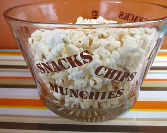 Vintage 1970s Retro Brown Glass Snacks Nuts Pretzels Candy Chips Typography Party Bowl