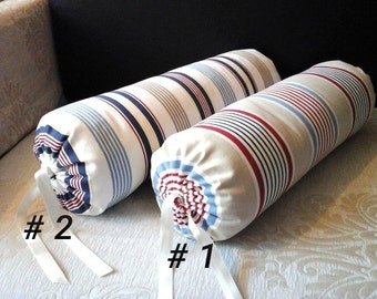 Handmade neck roll bolster striped cotton pillow cover. Ready to ship!