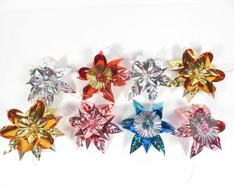 Vintage Tinsel Star Flower Package Ornaments - Set of 8 Tinsel Package Ties Ornaments