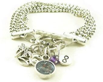 Orgone Energy Multi Strand Zen Charm Bracelet in Antique Silver with Amethyst - Orgone Energy Jewelry - Artisan Jewelry