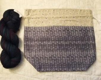 Drawstring bag, knit print bag, grey drawstring bag, floral knitting project bag, knitting lunch bag, tote, fully lined, beige lining