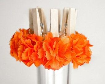 Fall Wedding Flower Decoration Clips Koi Orange Flowers. Bridal or Baby Shower Decor, Guest Favor Bag Clips, Place Card Holders, Set of 10