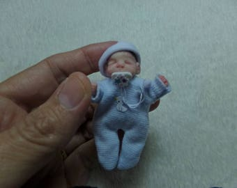 OOak miniature baby boy with micro-magnetic pacifier for Dollhouse 1:12 scale