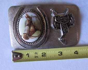 Vintage Equestrian Belt Buckle Saddle Porcelain Horse Painting