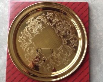 Vintage Baldwin Round Tray / Polished Brass Finish 14 Inch Round Tray