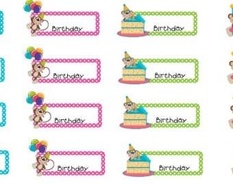 Birthday Monkey Planner Stickers