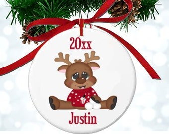 Personalized Reindeer Ornament Kids Christmas Ornament