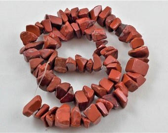 Red Jasper Large Chips (approx 6-12 mm), Drilled - 16 inch strand - Destash Beads Jewelry Making Supplies - Brand New Semi Precious Stone