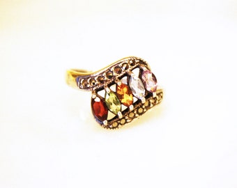 Vintage Art Deco Multi Stone Marcasite Ring / Sterling Silver / Size 8