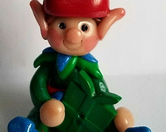 Polymer clay Christmas Ornament, Red and green Christmas elf,  2017 keepsake, handmade gift, debbies clay babies