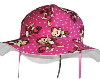 Baby Sun Hat, Toddler Hat, Baby Girl Pink Sun Hat, Summer Hat, Wide Brim Floppy Beach Hat, Cotton Hat, Newborn Hat, Monkey Hat Made To Order