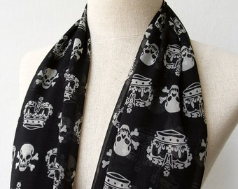 Skulls and Crowns Print Long Chiffon Scarf Shawl, Black Chiffon Scarf