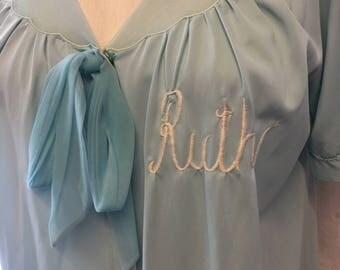Vintage retro Pale blue monogrammed robe medium