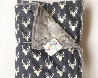 Build Your Own Blanket - Oh Deer! Navy White - Baby Boy Girl Minky - Stroller Crib woodland deer buck stag antlers Embroidered Personalized