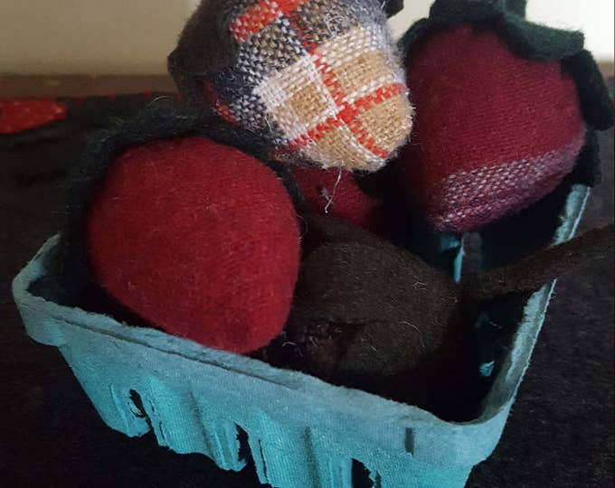 Featured listing image: Wool strawberries in a berry box