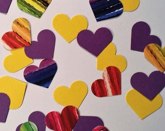 """Hearts ~ 1"""" Rainbow-Yellow-Purple Hearts Valentine Confetti Mix, Color on Both Sides, Baby Shower, Bridal Shower, Wedding, Flower Girl Toss"""