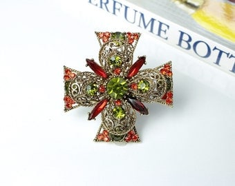 Vintage signed Emmons Peridot/ Topaz  Rhinestone Maltese Cross Brooch #811